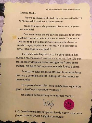 La carta de un profesor que ama enseñar y aprender cada día de sus alumnos