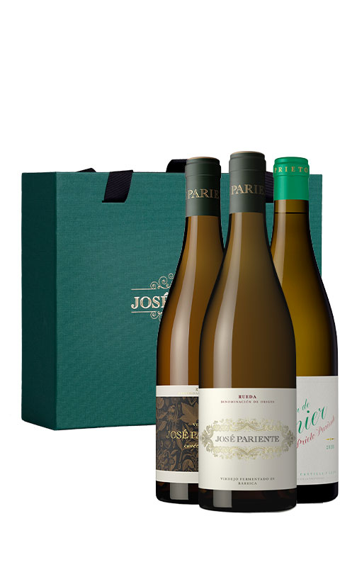 Estuche verde de tres vinos de Bodegas José Pariente