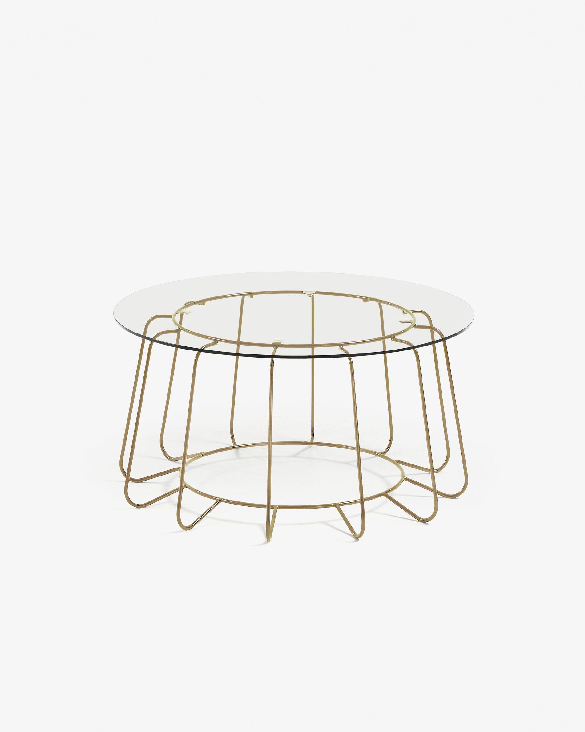 Mesa de centro Paradigm cristal y estructura de acero acabado dorado Ø 80 cm