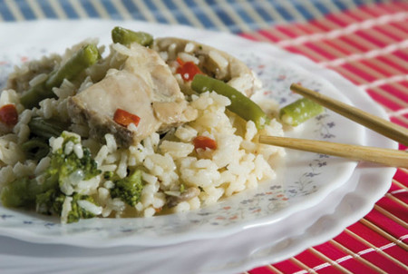 Pollo con verduras, arroz y All-Bran®