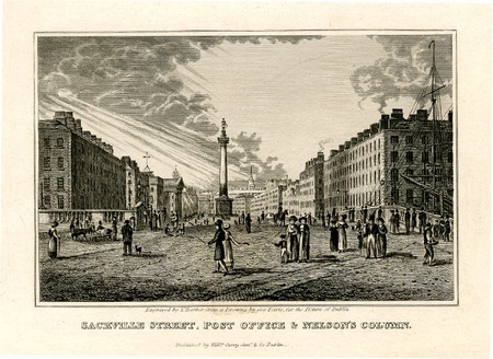 """DublinSackville Street, Post Office & Nelson's Column"""". Grabado de1828 de Thomas Barber"""