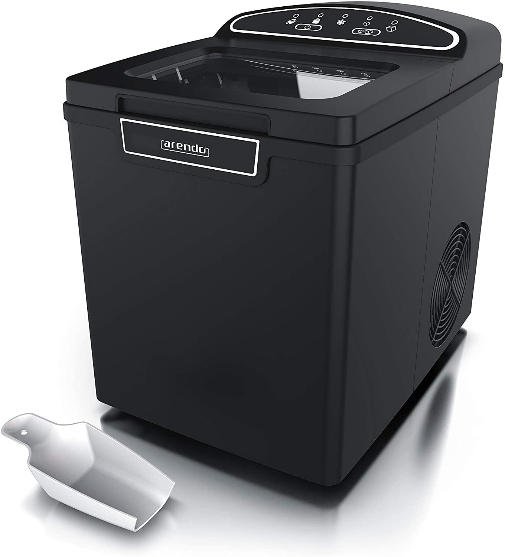 Arendo 722304982722 Máquina de cubitos de hielo de acero inoxidable, Color: negro