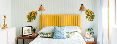 Before and after: a surprising bedroom with a mix of patterns and a bold yellow headboard