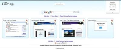 Tizmos, página de inicio con las miniaturas de tus sitios web favoritos