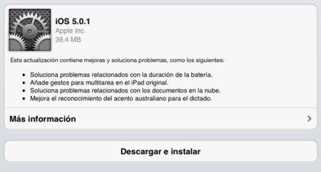 Actualización de software iOS 5.0.1 ya disponible: gestos multitarea en el iPad original y solución a los problemas de batería