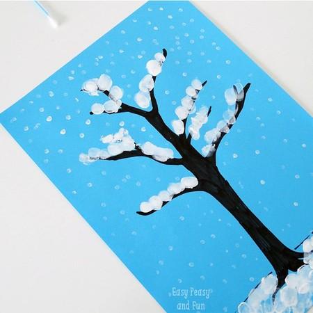 Manualidades Invierno Arbol Nevado