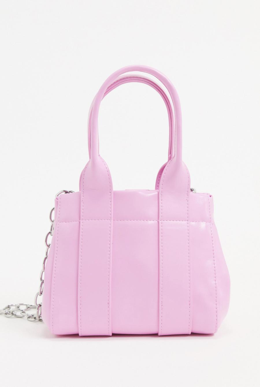 Bolso pequeño de cuero sintético en rosa con cadena plateada Lykke de Weekday