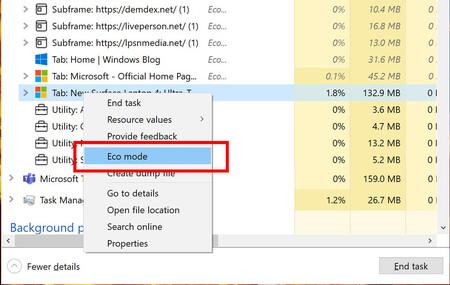 El Administrador de tareas de Windows clasifica mejor los procesos Edge y estrena un modo Eco en la última compilación 'insider'