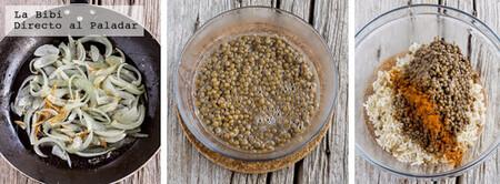 Lentejas con arroz y cebolla caramelizada. Receta fácil de comida árabe