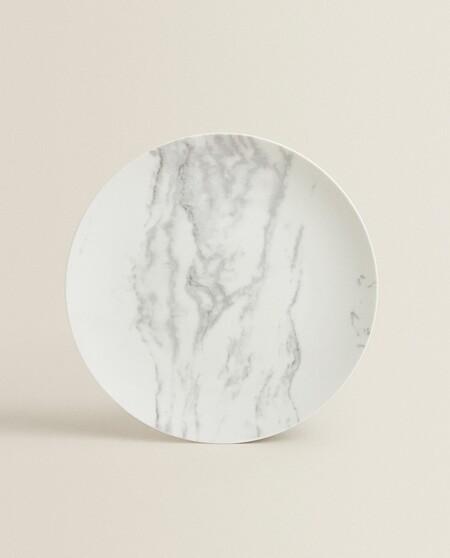 Plato de porcelana efecto mármol