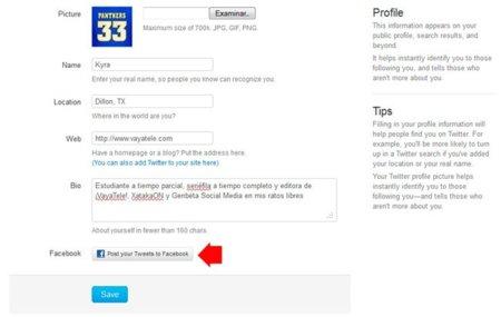 Twitter añade la opción de publicar los tweets en Facebook simultáneamente