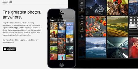 500px ya disponible para iPhone (actualizada para iPad)