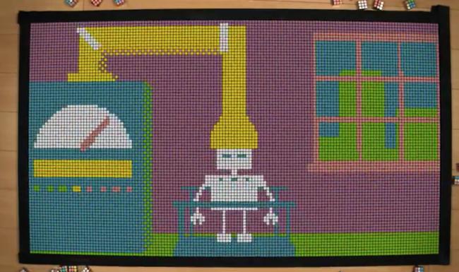 robot animado con cubos de rubik