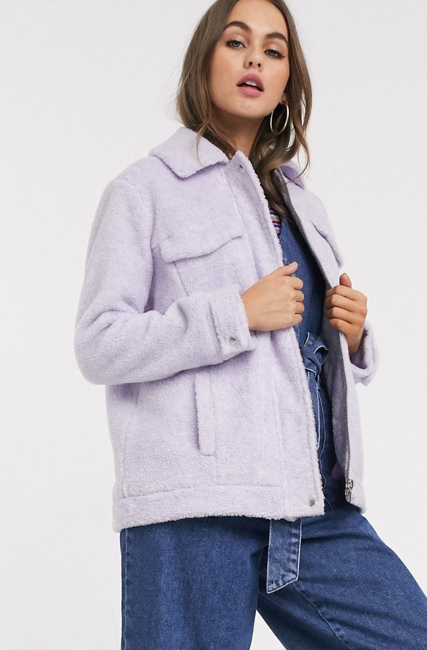 Chaqueta extragrande en tejido de borreguito lila de ASOS DESIGN