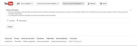 Youtube Modo Restringido
