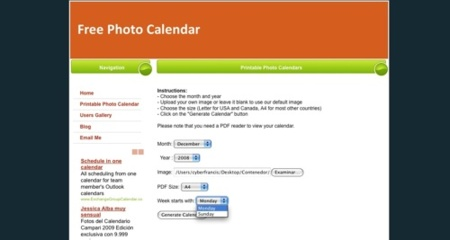 Free Photo Calendar, crea e imprime sencillos calendarios
