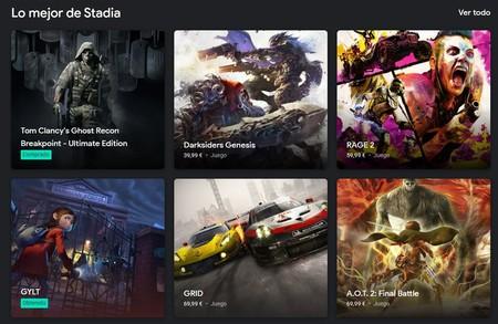 Algunos juegos de Google Stadia