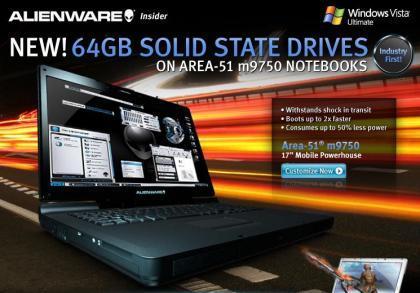 Alienware añade 32 y 64 GB SSD a su m9750