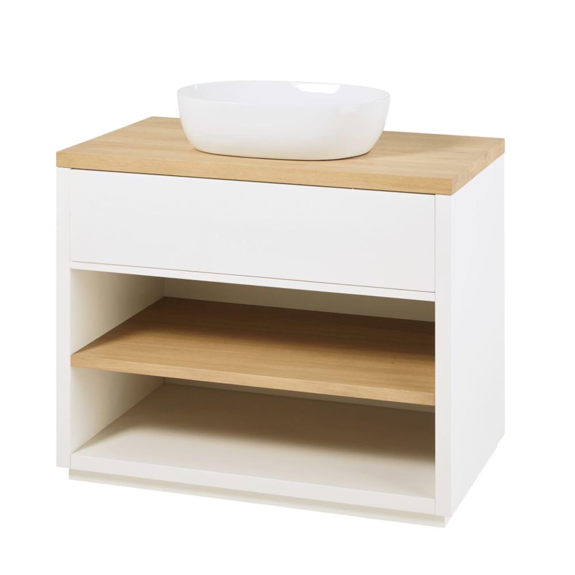 Mueble de lavabo blanco con 1 cajón