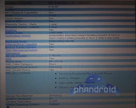 Nexus S, se filtran algunas especificaciones y se rumorea un procesador Samsung Orion de doble núcleo