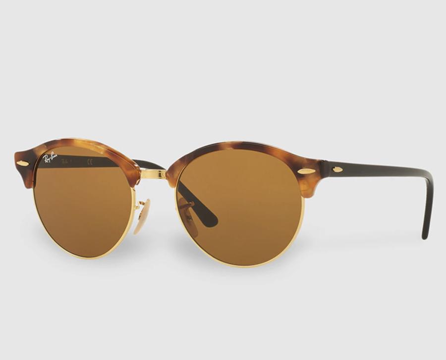 Gafas de sol unisex Clubround de acetato en color habana y lentes en color marrón