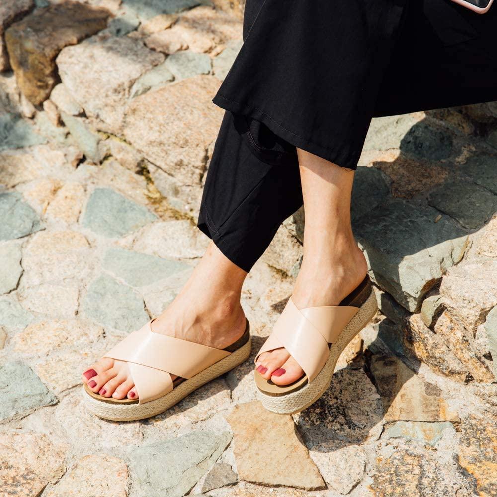 Sandalias Mujer Alpargatas Cuña Plataforma Chanclas Verano Playa Zapatillas de Cinturón Cruzado Punta Abierta Tacón 5.3 cm Negro Marrón Oro Leopardo EU35-EU43