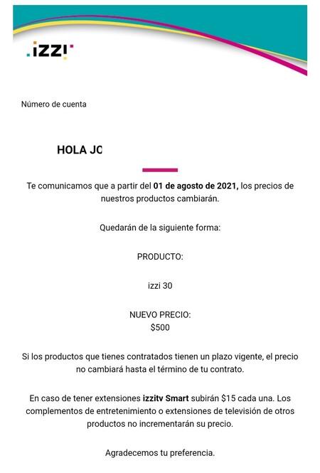 Izzi Aumento Precio Algunos Usuarios Mexico 1 Agosto 2021