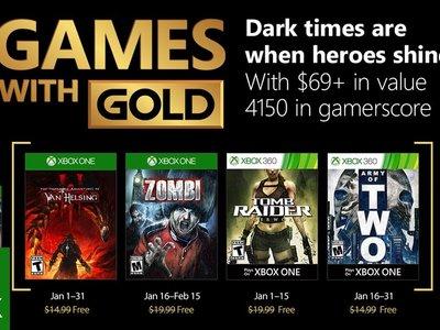 ZOMBI y Tomb Raider Underworld  entre los Juegos con Gold de enero