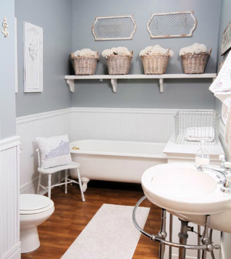 Un baño romántico en azul