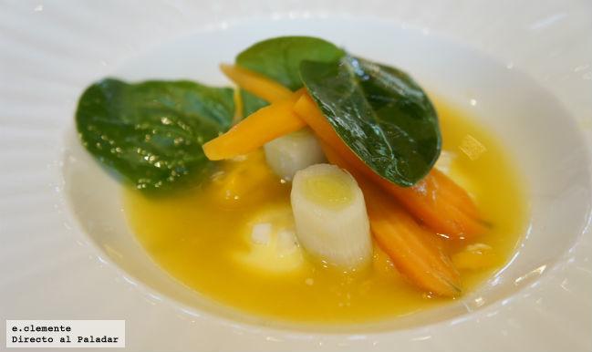Verduras con mahonesa de cocido de garbanzos