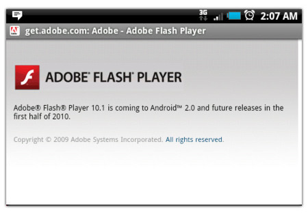 Adobe Flash 10.1 requiere Android 2.0
