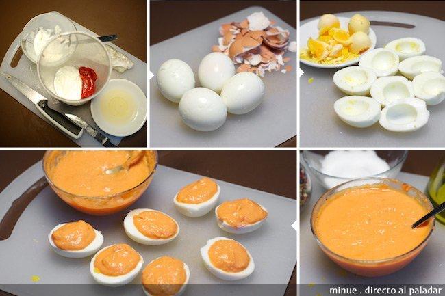 Huevos rellenos de paté de bacalao y pimientos - elaboración