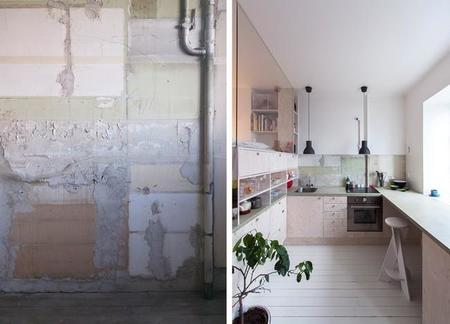Antes y después: una zona de almacenaje convertida en microapartamento en Estocolmo