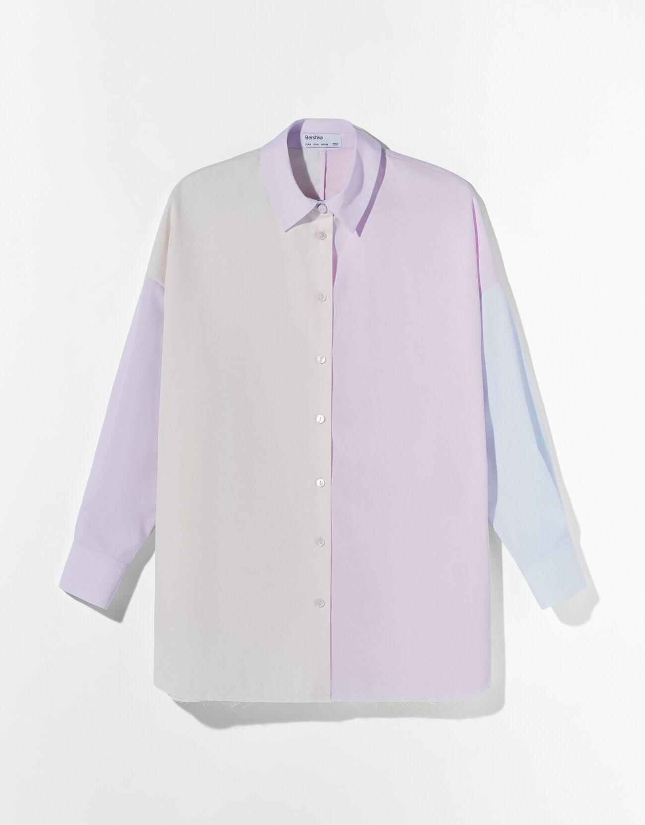 Camisa oversize popelin color block.