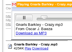 Gmail reproduce MP3