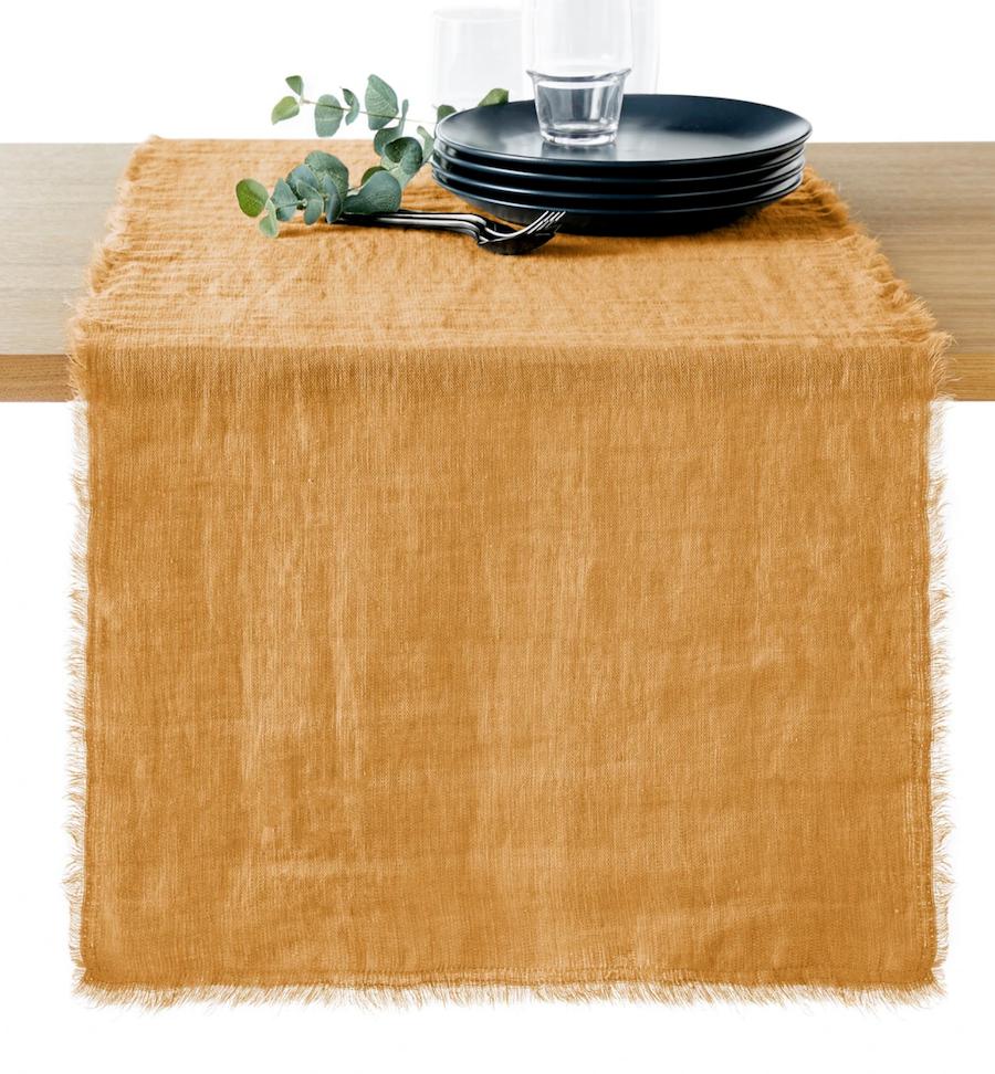Camino de mesa de lino lavado con flecos Linange