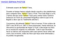 Yahoo Photos también echa el cierra en España