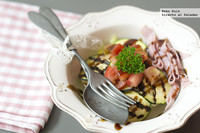 Ensalada templada de calabacín y jamón dulce. Receta