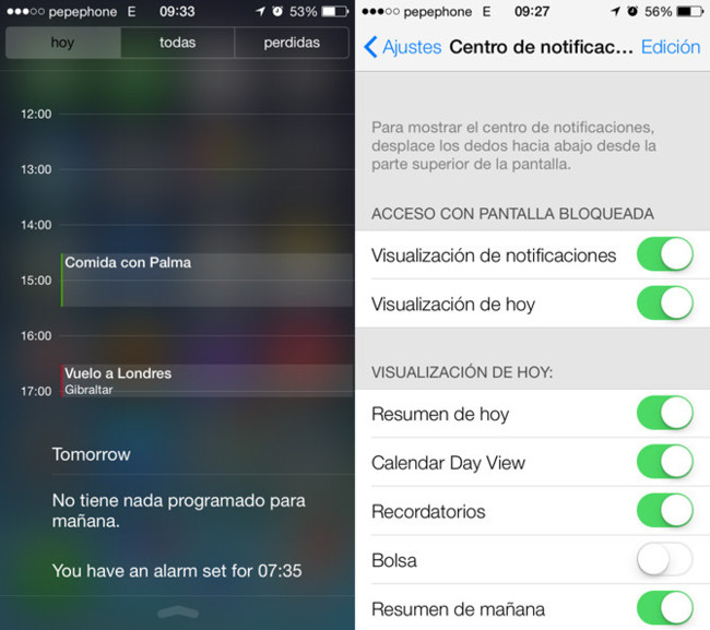 iOS 7 Centro de notificaciones y sus ajustes