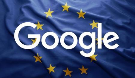 El logo de Google sobre la bandera de la Unión Europea