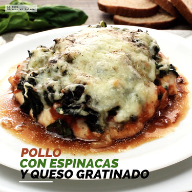 Pollo con espinacas y queso gratinado. Receta en video