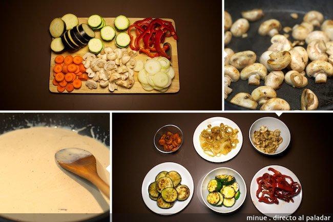 Verduras salteadas con salsa de pimienta - elaboración