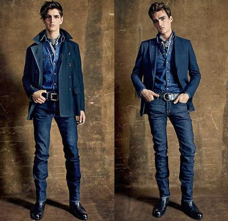 Tom Ford 2015 Spring Summer London Collections Men British Fashion Uk Denim Jeans Slim Dark Santa Fe New Mexico Leather Western Fringes Zebra Suede 08x