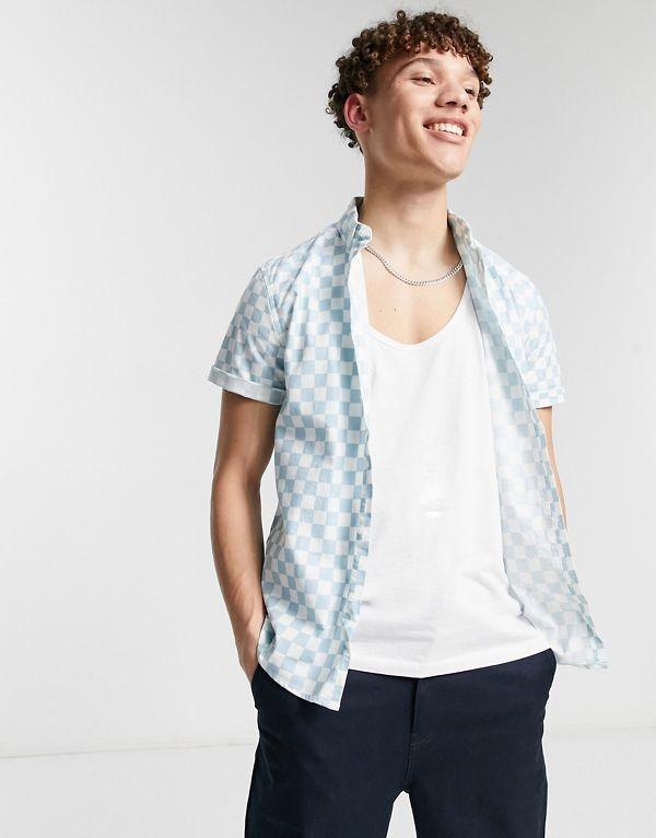 Camisa Oxford azul pastel elástica de corte slim con estampado a cuadros vichy de ASOS DESIGN