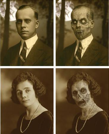 Retratos que se transforman en zombies