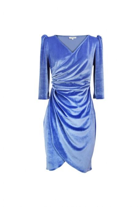 Vestido Terciopelo Azul Celeste Coosy
