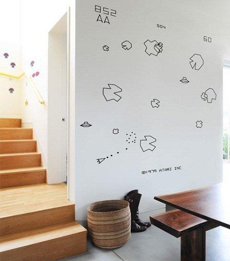 Pegatinas Asteroids, para la pared de un geek