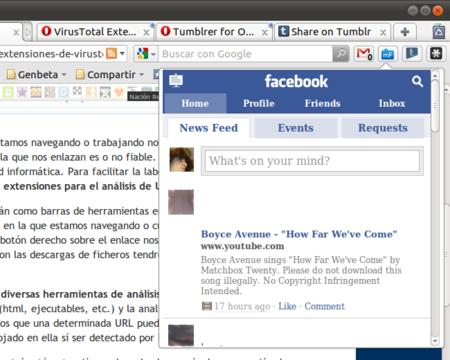 La extensión miniFeed de Facebook