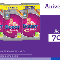 70% de descuento en la segunda unidad de pañales  Dodot Sensitive y Activity en Toys 'r us. Envío gratis