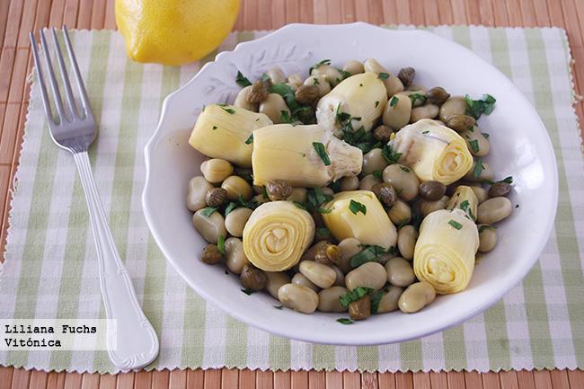 Ensalada de alcachofas y habitas receta saludable - Ensalada de habitas ...